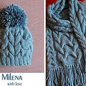 Аксессуары handmade. Livemaster - original item Knitted set Jeans, knitted hat, knitted scarf.. Handmade.
