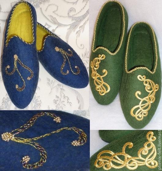 """Обувь ручной работы. Ярмарка Мастеров - ручная работа. Купить Тапочки """"Восточные"""". Handmade. Сине желтый, бисер, тапочки остроносые"""