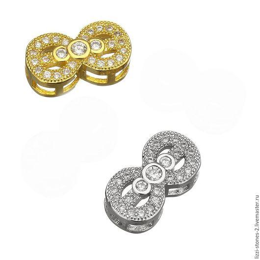 Бусина-коннектор Восьмерка, серебро и золото (Milano) Евгения (Lizzi-stones-2)