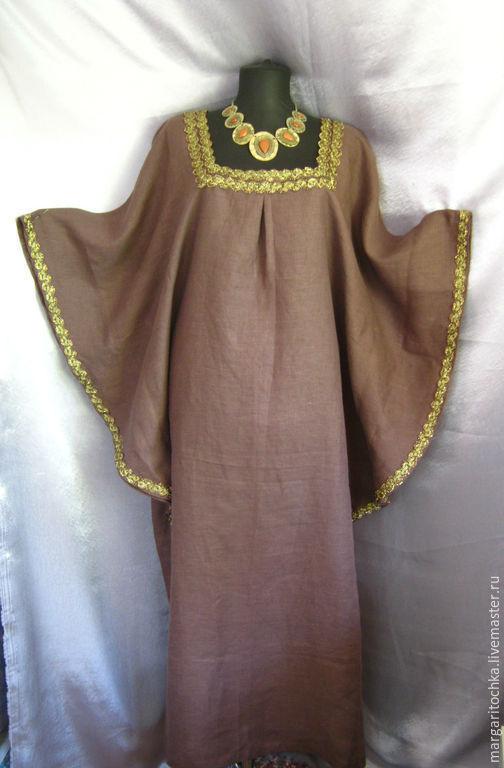 """Большие размеры ручной работы. Ярмарка Мастеров - ручная работа. Купить """"Царица"""" Платье льняное шоколадное. Handmade. Большие размеры"""