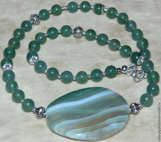 Колье, бусы ручной работы. Ярмарка Мастеров - ручная работа. Купить Ожерелье зеленый агат с бусиной. Handmade. Агат натуральный