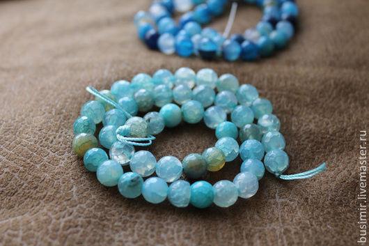 Агат Крэкл (кракле), цвет - голубой микс. Бусины агата 8 мм, огранка. Агат для создания украшений. Busimir