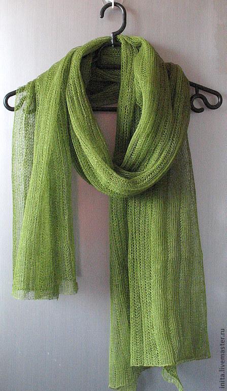 Шали, палантины ручной работы. Ярмарка Мастеров - ручная работа. Купить Шарф льняной зеленый (72см x 200см). Handmade.