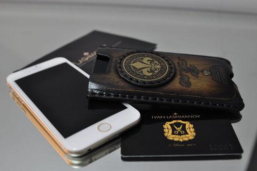 Для телефонов ручной работы. Ярмарка Мастеров - ручная работа. Купить Чехол для iPhone 5/ 5s/se из Кожи Ручной работы № 57i. Handmade.
