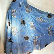 Одежда ручной работы. Ярмарка Мастеров - ручная работа Юбка--бохо длинная, с обркой, джинсовая,бохо шик. Handmade.