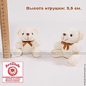 Брелок – мягкая игрушка для букетов мишка 9,5см., бежевый, с бантиком