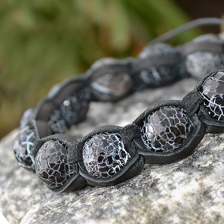 Shamballa bracelet leather stone agate `Crackle`