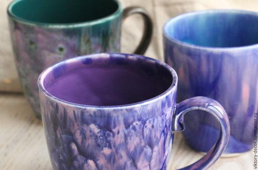 Кружки и чашки ручной работы. Ярмарка Мастеров - ручная работа. Купить Керамические бокалы Фиолетовые фантазии. Handmade. чашка в подарок