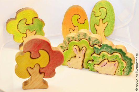 Развивающие игрушки ручной работы. Ярмарка Мастеров - ручная работа. Купить Зайчики в капусте. Handmade. Пазлы из дерева, бежевый
