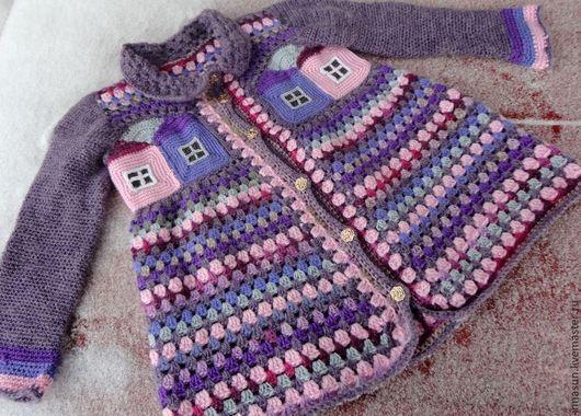 Одежда для девочек, ручной работы. Ярмарка Мастеров - ручная работа. Купить Детское вязаное пальто Домики. Handmade. Сиреневый