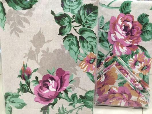 Текстиль, ковры ручной работы. Ярмарка Мастеров - ручная работа. Купить Комплект штор на петлях с прихватами и скатерть 150*170 с 6 салфетками. Handmade.