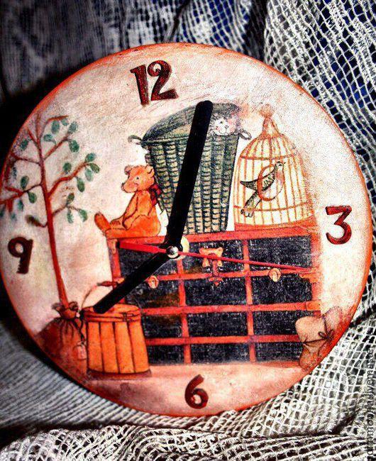 Часы для дома ручной работы. Ярмарка Мастеров - ручная работа. Купить Часики детские. Handmade. Коричневый, часы настенные, интерьер
