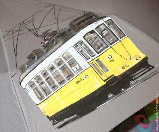 Зонты ручной работы. Ярмарка Мастеров - ручная работа. Купить Зонт с росписью Лиссабон Желтый трамвайчик. Handmade. Зонт, пластик