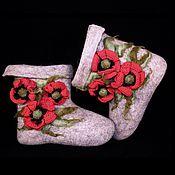 """Обувь ручной работы. Ярмарка Мастеров - ручная работа Валенки """"Маки"""" (короткие). Handmade."""