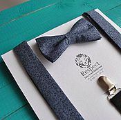 Аксессуары handmade. Livemaster - original item Bow tie and suspenders Dude / tie grey blue pattern. Handmade.