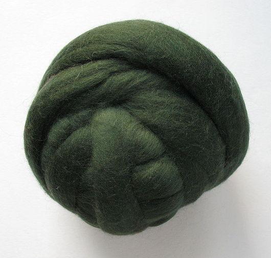 Валяние ручной работы. Ярмарка Мастеров - ручная работа. Купить Меринос 18 мк, Германия - цвет Темно-зеленый. Handmade.