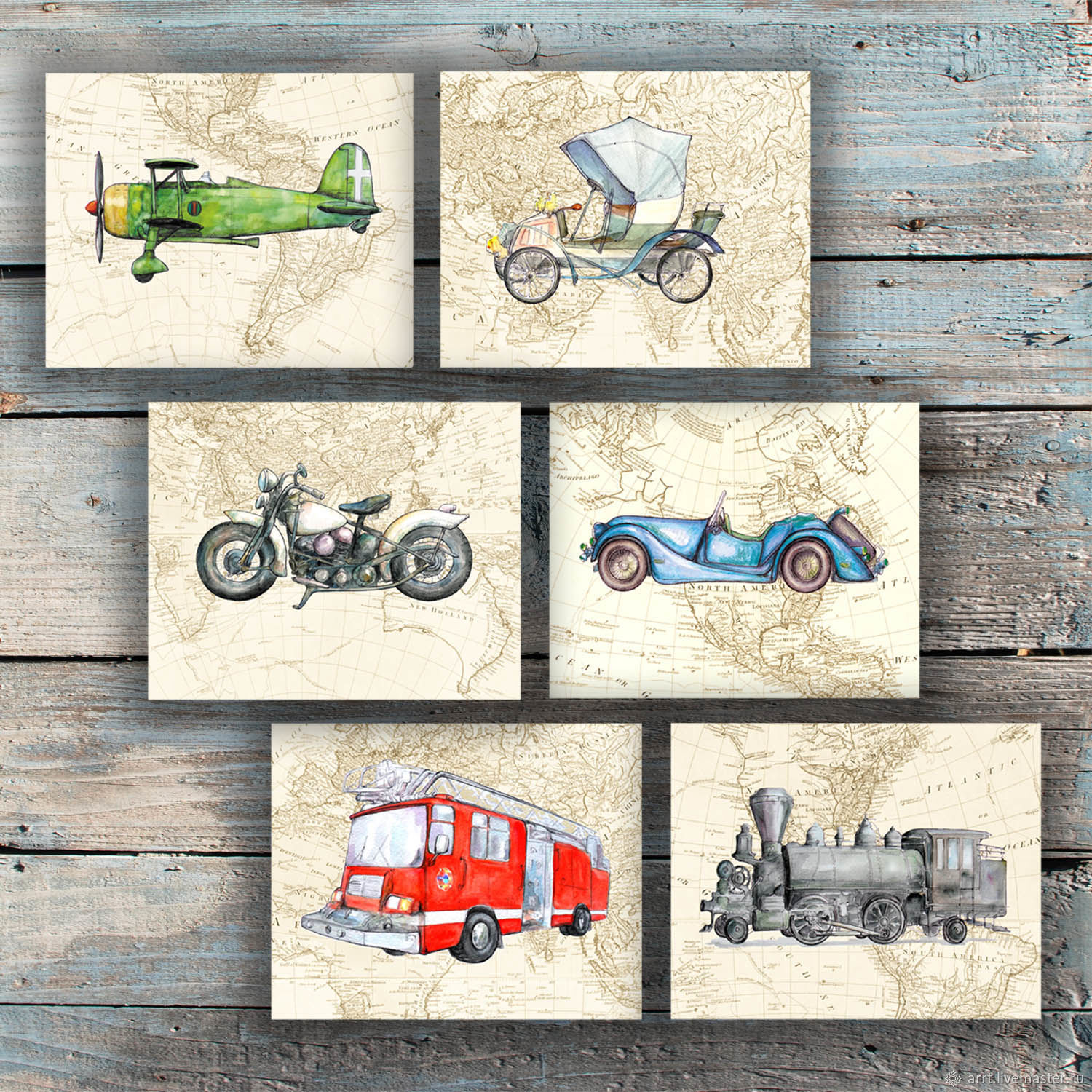 Nursery handmade. Livemaster - handmade. Buy Train Motorcycle Airplane Car on the world map Pictures for boy 6 PCs.