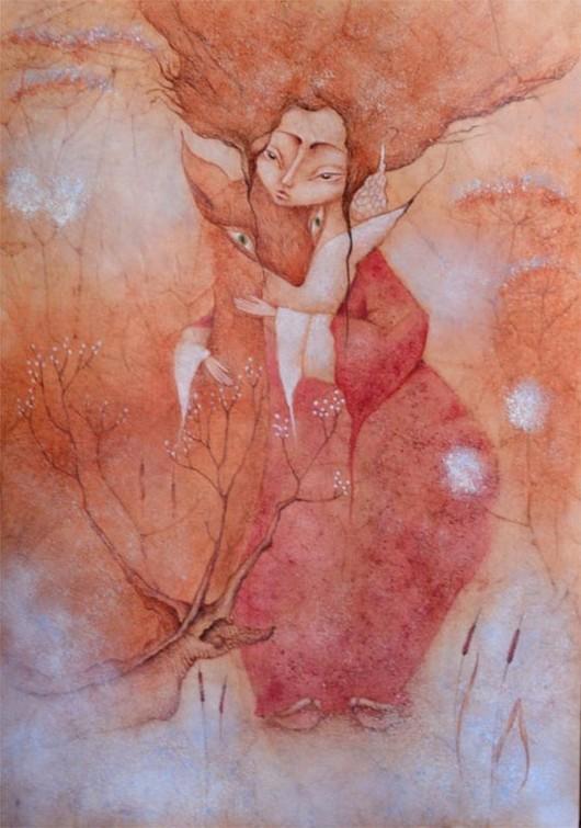 Картина Камыш. Кицунэ, дух, Япония