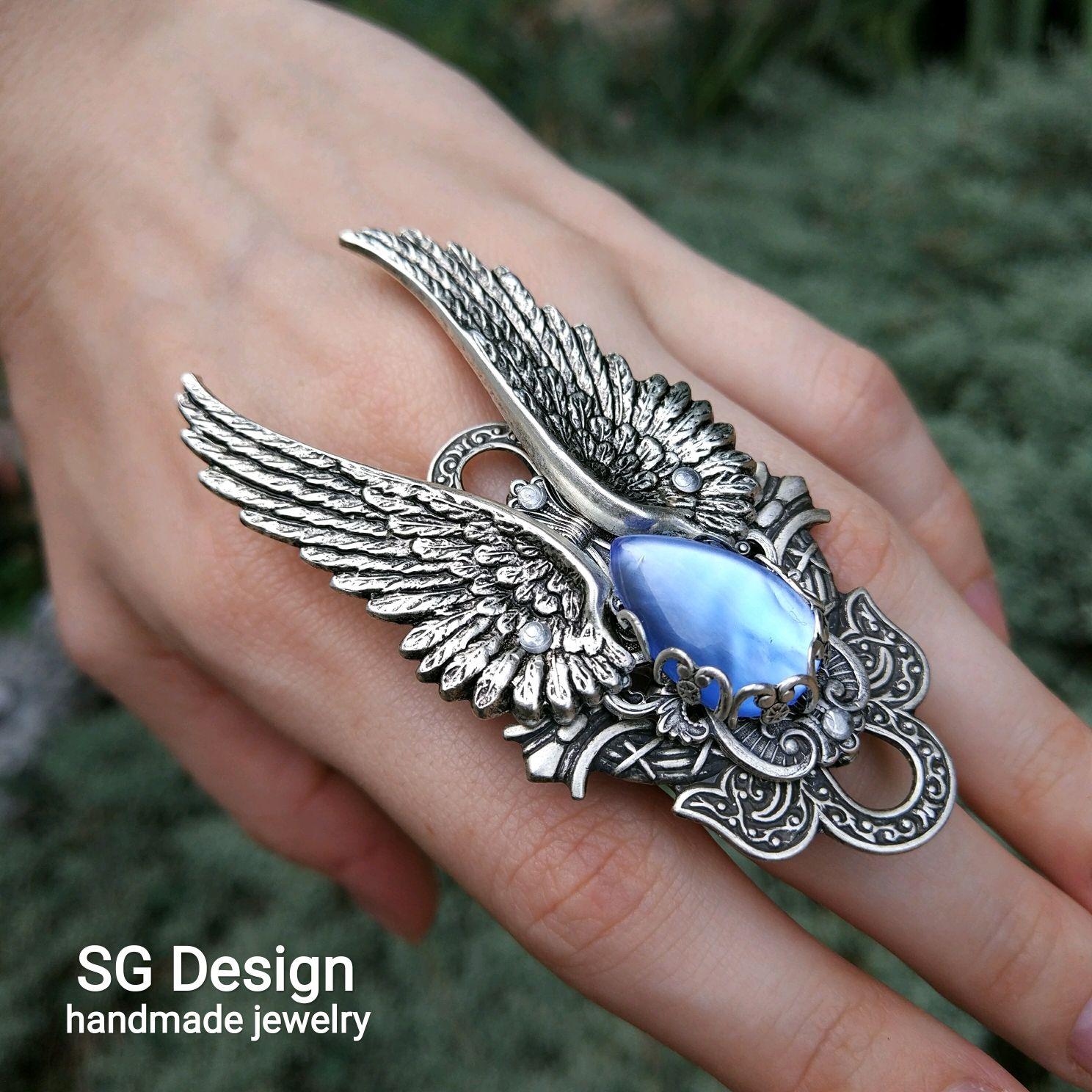 Ring with wings 'angel' blue Kyanite Labratory, Rings, Yalta,  Фото №1