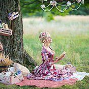 Одежда handmade. Livemaster - original item Floral silk dress with sweetheart neckline. Handmade.