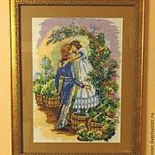 """Картины и панно ручной работы. Ярмарка Мастеров - ручная работа Вышивка крестиком """"Первый поцелуй"""". Handmade."""