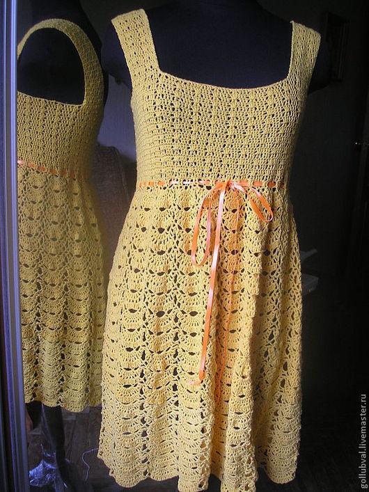 Платья ручной работы. Ярмарка Мастеров - ручная работа. Купить солнечное. Handmade. Желтый, однотонный, сарафан, сарафан для девочки