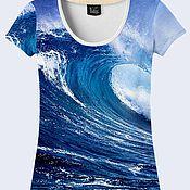 """Одежда ручной работы. Ярмарка Мастеров - ручная работа Женская футболка """"Океан"""". Handmade."""