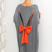 Одежда ручной работы. Ярмарка Мастеров - ручная работа Темно-серое летнее макси платье, кафтан с открытой спиной. Handmade.