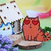 Украшения handmade. Livemaster - original item Icon: Brooch wooden Cat love or romantic cat. Handmade.