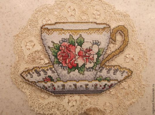 Декор для кухни. Чашка с розами. Ручная вышивка.  Ретро галантерея. Ярмарка мастеров.