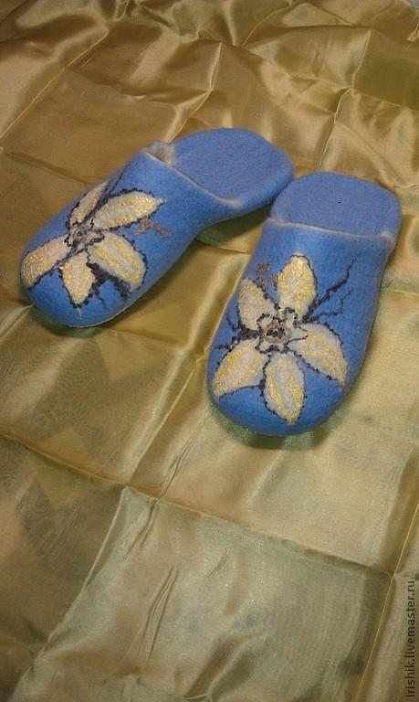 """Обувь ручной работы. Ярмарка Мастеров - ручная работа. Купить Тапочки домашние женские """" Ваниль"""". Handmade. Голубой"""