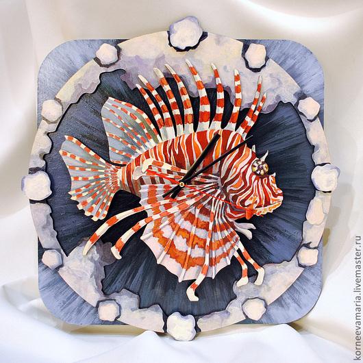 "Часы для дома ручной работы. Ярмарка Мастеров - ручная работа. Купить Часы ""Рыба-лев"". Handmade. Рыба, рыбы, пвх"