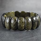 Украшения handmade. Livemaster - original item Obsidian Gold Natural Bracelet with a cut. Handmade.