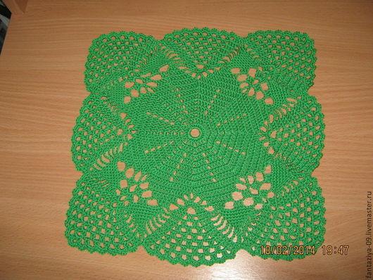 Текстиль, ковры ручной работы. Ярмарка Мастеров - ручная работа. Купить Салфетка цветок в ажуре.. Handmade. Зеленый, салфетка, вязание