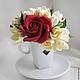 Интерьерные композиции ручной работы. Ярмарка Мастеров - ручная работа. Купить Букетик в кофейной чашке из красных роз и фрезии. Handmade.