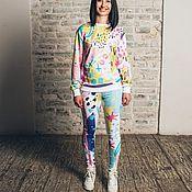 Одежда ручной работы. Ярмарка Мастеров - ручная работа Комплект Свитшот + Леггинсы с принтами. Handmade.