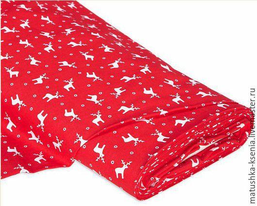 """Шитье ручной работы. Ярмарка Мастеров - ручная работа. Купить Ткань Германия """"Белые олени на красном"""" Новый год для тильды пэчворк. Handmade."""