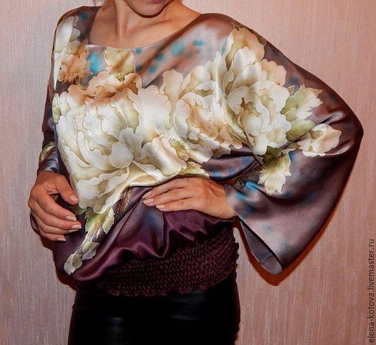 """Блузки ручной работы. Ярмарка Мастеров - ручная работа. Купить Блуза батик """"Жимолость"""". Handmade. Фиолетовый, баклажанный крайола"""