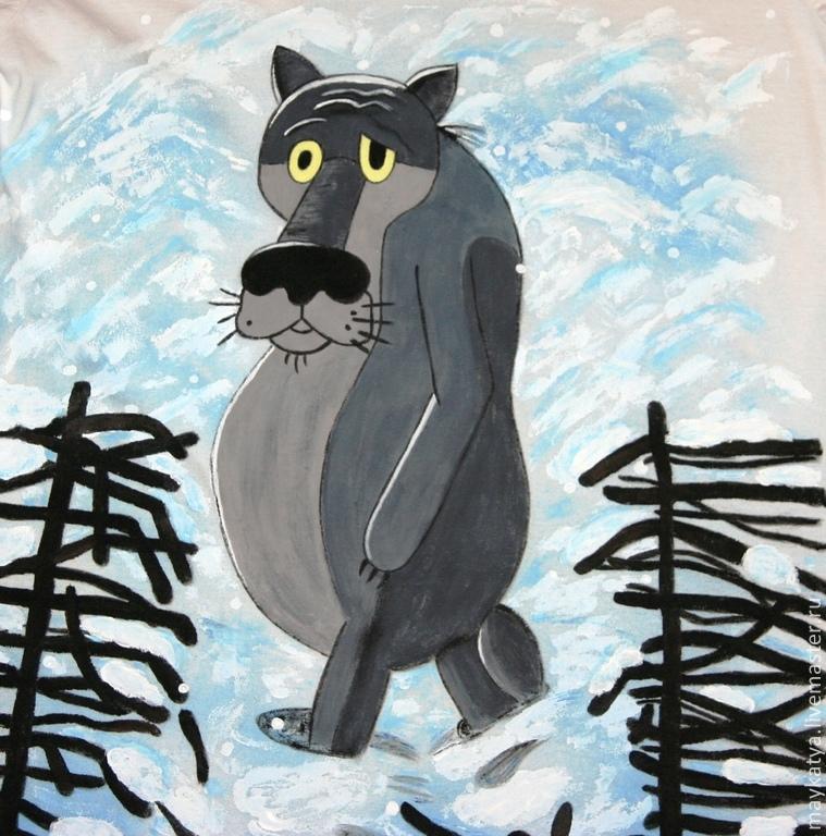 рисунок волка из мультфильма на калитке