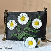 Сумки и аксессуары handmade. Livemaster - original item Women`s black bag with leather flowers white daisies in DG style. Handmade.