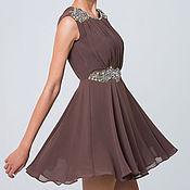Одежда ручной работы. Ярмарка Мастеров - ручная работа Платье коктейльное Шоколад, платье шифоновое нарядное. Handmade.