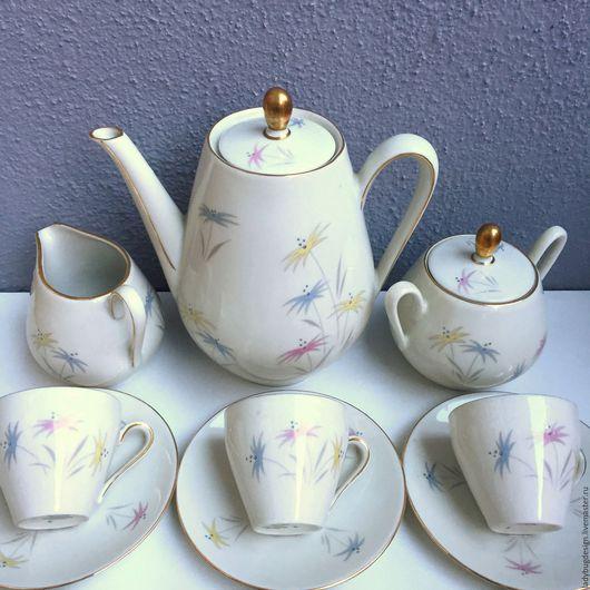 Винтажная посуда. Ярмарка Мастеров - ручная работа. Купить Кофейный сервиз на 6 персон WINTERLING. Handmade. Белый, чайник, розы