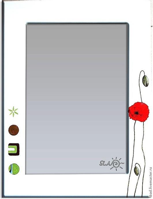 """Зеркала ручной работы. Ярмарка Мастеров - ручная работа. Купить Зеркало настенное """"Маки"""". Handmade. Белый, зеркало в раме"""