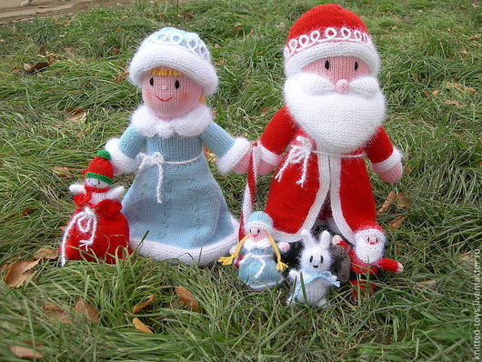 Новый год 2017 ручной работы. Ярмарка Мастеров - ручная работа. Купить Дед Мороз и Снегурочка из Дедморозовки (вязаные игрушки из шерсти). Handmade.