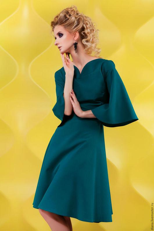 Платья ручной работы. Ярмарка Мастеров - ручная работа. Купить Вечернее изумрудное платье №11. Handmade. Тёмно-зелёный