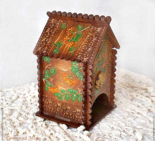 Домик для чая, чайная шкатулка, чайный домик, чайный домик с росписью, домик для чая с росписью, домик для чая роспись, подарок хозяйке, подарок для дачи, в природном стиле, эко-стиль, природный