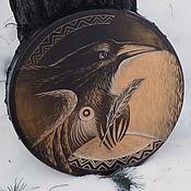 Музыкальные инструменты handmade. Livemaster - original item The wise Raven. Diamonds leather. Drum leather. 35 cm. Handmade.