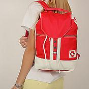 """Рюкзаки ручной работы. Ярмарка Мастеров - ручная работа Кожаный рюкзак """" Городская жизнь """" Красный с белым. Handmade."""