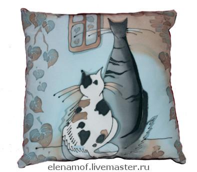 Текстиль, ковры ручной работы. Ярмарка Мастеров - ручная работа. Купить Подушка Две кошки. Handmade. Голубой, Кошки