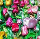 """Картины цветов ручной работы. Картина из атласных лент """"Тюльпаны"""". Мария Людвиг(Гильдебрант). Ярмарка Мастеров. Шикарная, радость, Лиловый цвет"""
